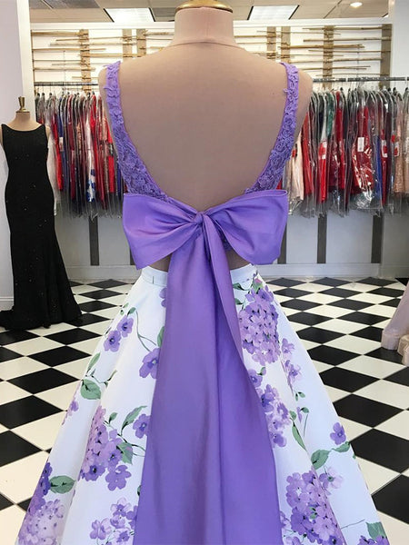 Exquisite Bateau 2 Pieces Prom Dresses Satin A-line Prom Gowns PD324