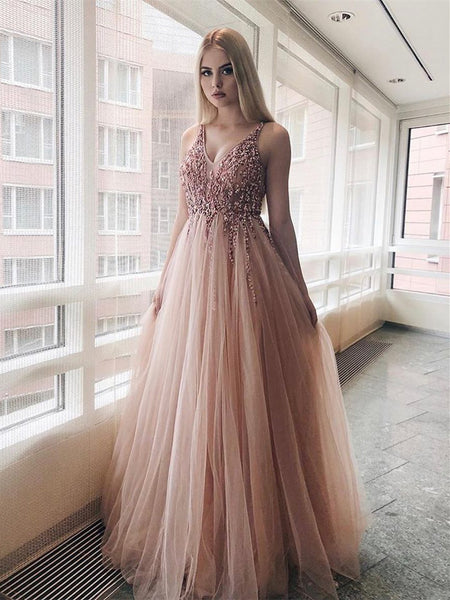 Alluring Tulle V-neck A-line Prom Dresses With Appliques PD325