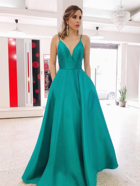 Gorgeous Satin A-line prom Dresses Spaghetti Straps Gowns PD327