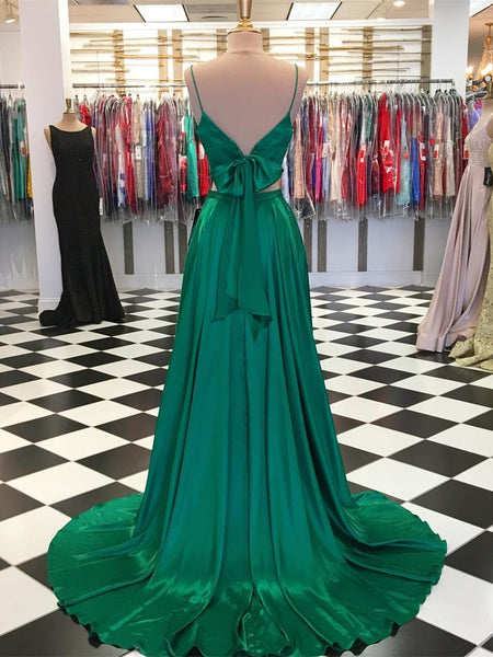 Modest Satin A-line Prom Dresses 2 pieces Spaghetti Straps Gowns PD329