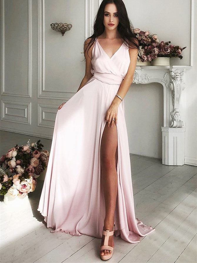 Gorgeous Chiffon Spaghetti Straps A-line Prom Dresses With Sweep Train PD340