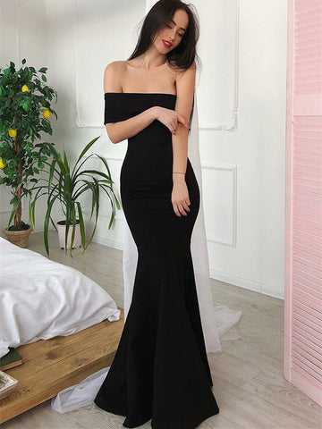 Sexy Off-the-shoulder Evening Dresses Sheath Black Gowns PD341