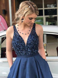 Stunning V-neck Satin Prom Dresses A-line Beaded Gowns With Sweep Train  PD344