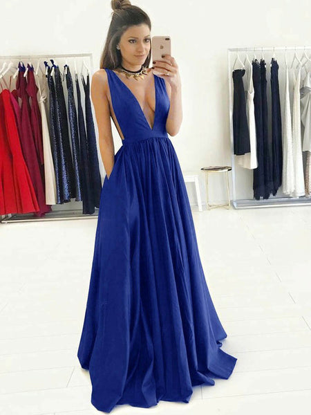 Exquisite Deep-v A-line Prom Dresses Satin Sweep Train Gowns PD345