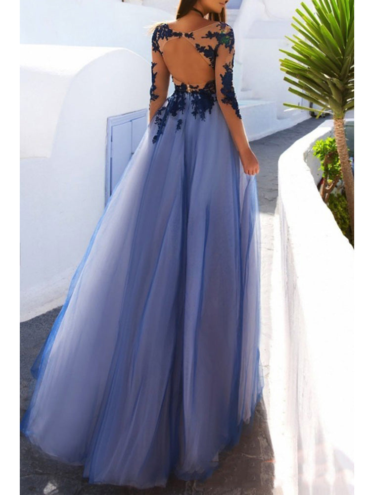 Marvelous Tulle Long Sleeves Prom Dresses A-line Appliqued Illusion Gowns PD349