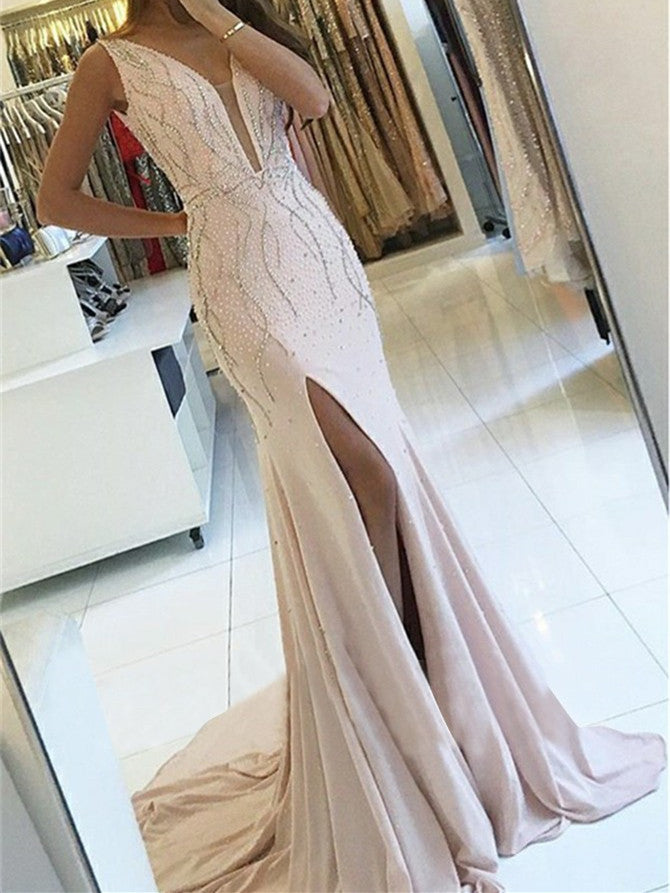 Shining Satin V-neck Sheath Prom Dresses Beaded Gowns With Slit PD352