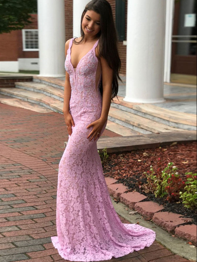 Modest Lace Prom Dresses Mermaid/Trumpet Backless Formal Gowns PD356