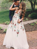 Gorgeous Lace Prom Dresses A-line Floral Gowns With Sweep Train PD358