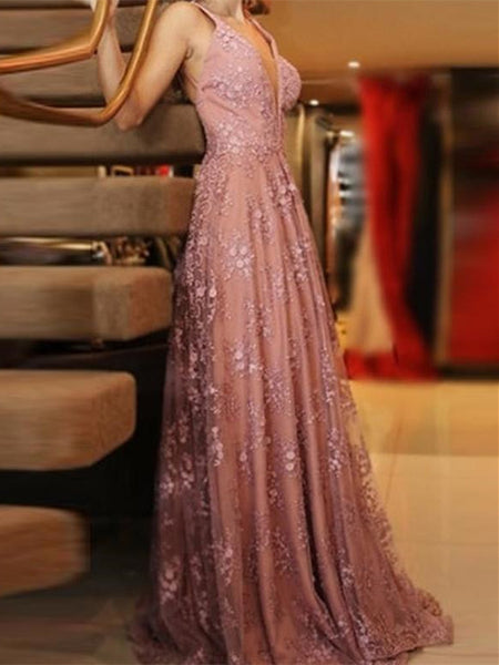 Glamorous Lace Prom Dresses A-line Backless Appliqued Gowns PD359