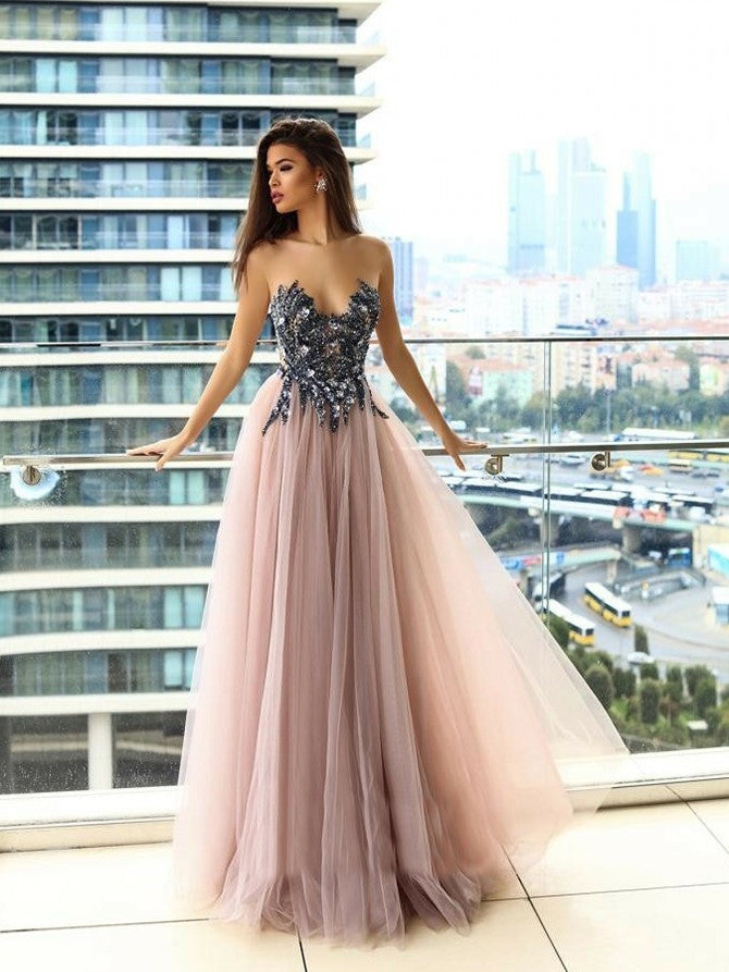 Unique Sweetheart A-line Prom Dresses Shining Gowns With Rhinestones PD362