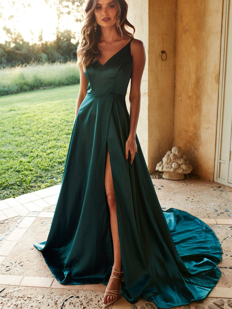Alluring Satin Prom Dresses A-line Spaghetti Straps Gowns With Slit PD363