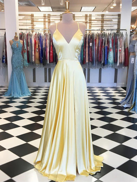 Gorgeous Spaghetti Straps A-line Prom Dresses Satin Gowns PD365