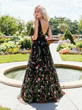 Exquisite V-neck Lace Prom Dresses Long Floral Formal Gowns PD366