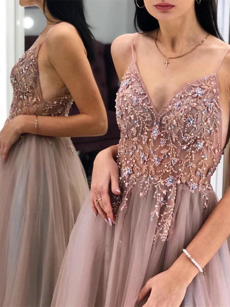 Eye-catching Illusion Prom Dresses Tulle Spaghetti Straps A-line Formal Gowns PD367