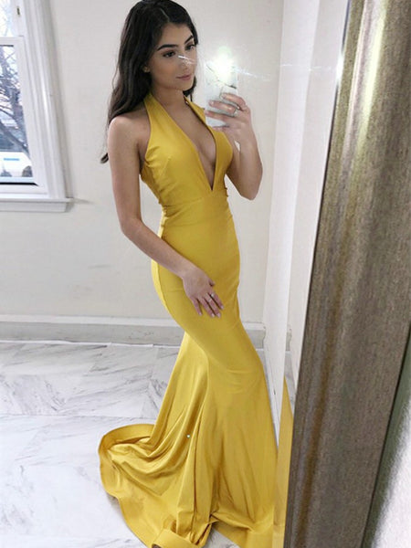 Marvelous Halter Mermaid Prom Dresses Satin Evening Gowns PD376