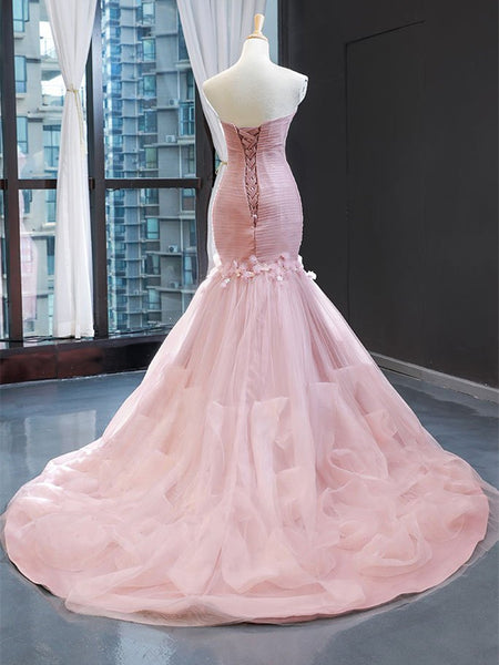 Modest Sweetheart Mermaid Prom Dresses With Appliques PD381