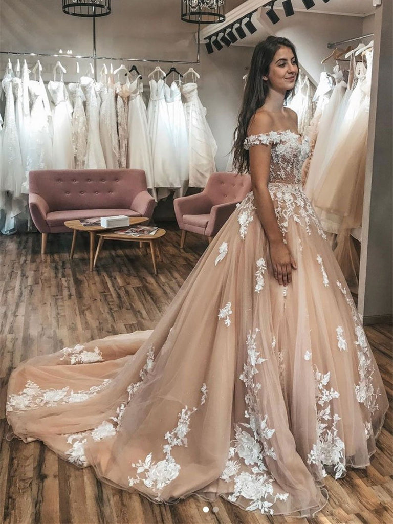 Appliqued A-line Prom Dresses Tulle Long Evening Gowns PD382