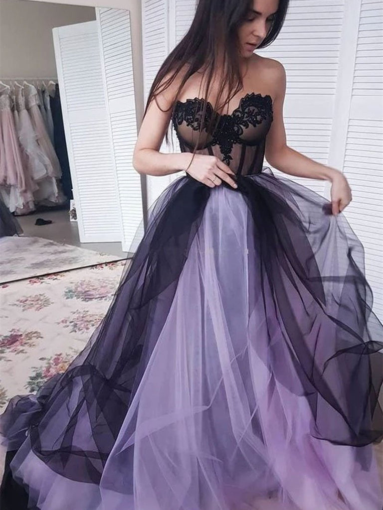 Sweetheart Tulle Prom Dresses A-line Appliqued Evening Gowns PD383