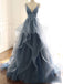 Spaghetti Straps A-line Prom Dresses Tulle Appliqued Evening Gowns PD384