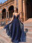 Shining A-line Prom Dresses With Sequins Spaghetti Straps Evening Gowns PD398