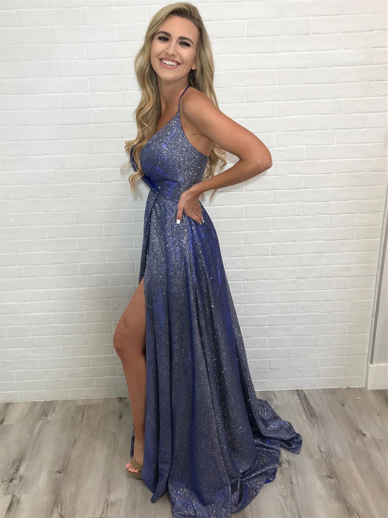Shining A-line Prom Dresses With Slit Spaghetti Straps Evening Gowns PD402