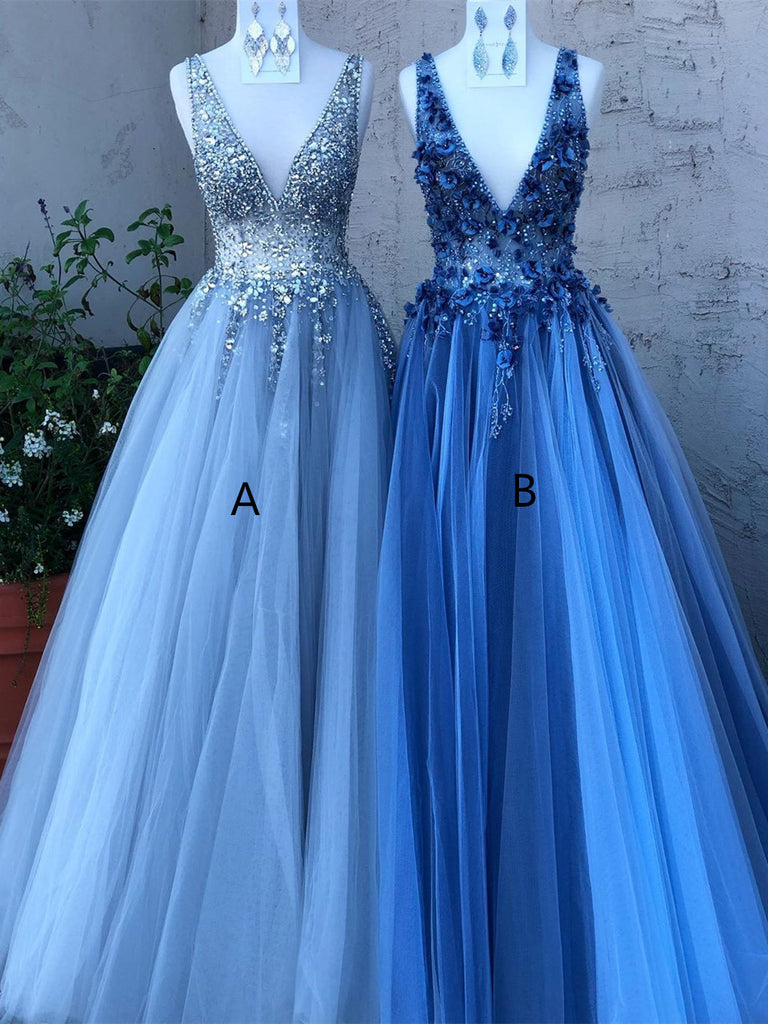 Shining Beaded Tulle Prom Dresses A-line Evening Gowns With Rhinestones PD416