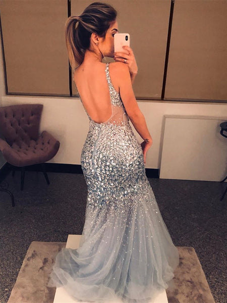 Spaghetti Straps Tulle Mermaid Prom Dresses With Rhinestones PD438