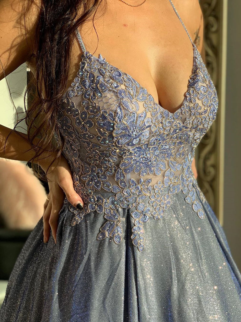 Unique Lace Prom Dresses A-line Appliqued Evening Gowns PD451