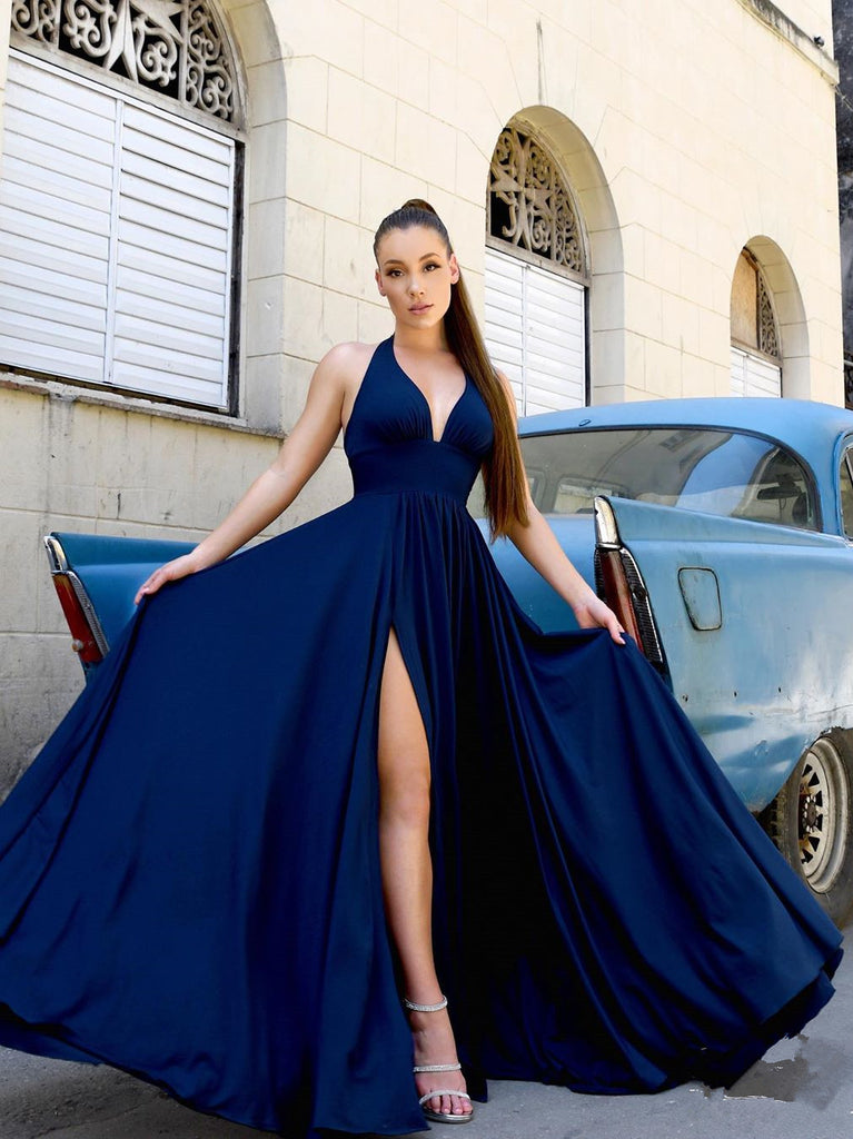 Elegant Satin A-line Prom Dresses With Slit Long Evening Gowns PD455
