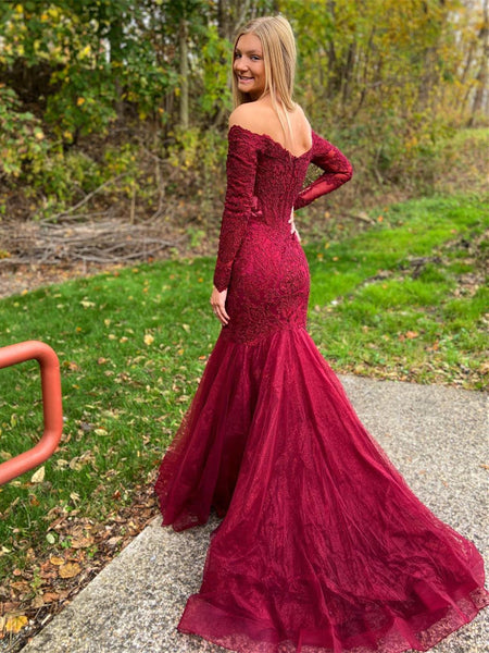 Long Sleeves Mermaid Prom Dresses With Appliques PD456