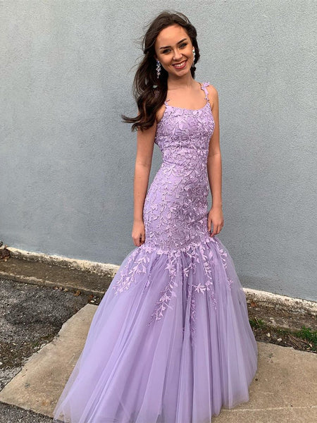 Appliqued Mermaid Prom Dresses Tulle Evening Gowns PD460