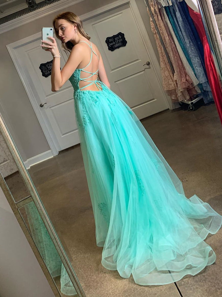 Spaghetti Straps A-line Prom Dresses Tulle Appliqued Gowns PD463