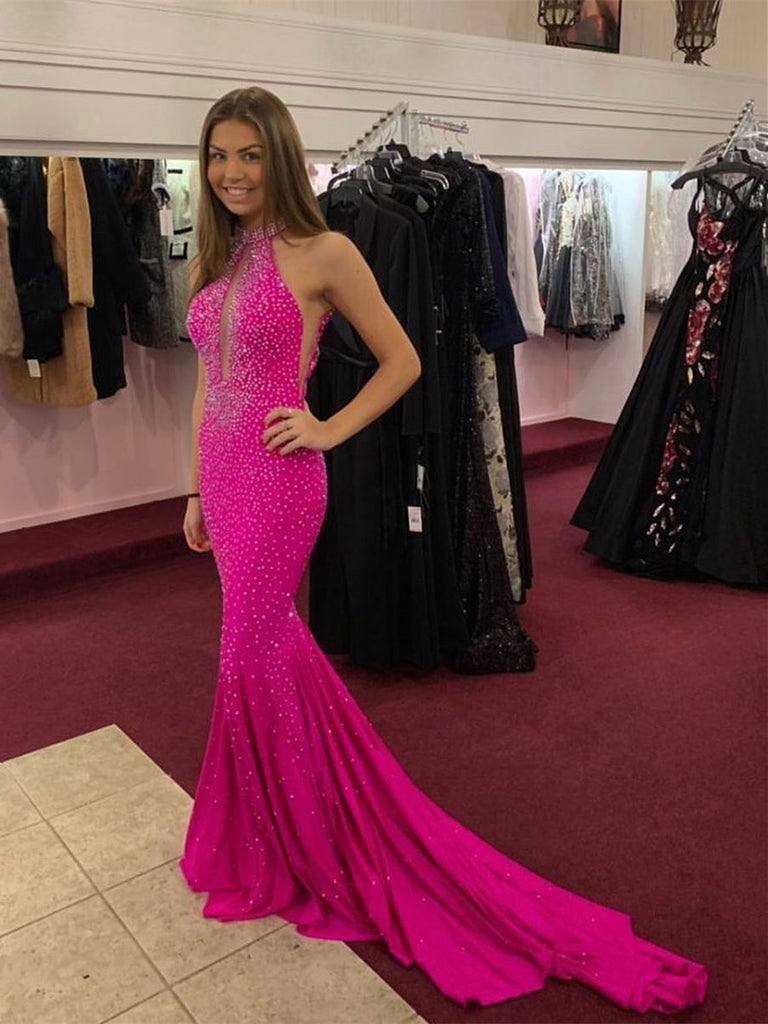 Shining Halter Mermaid Prom Dresses With Rhinestones PD464