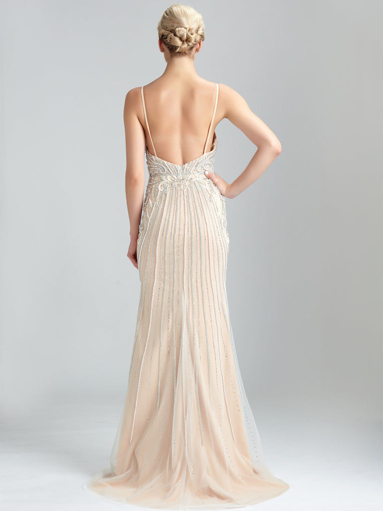 Spaghetti Straps Sheath Evening Dresses Tulle Beaded Gowns PD476