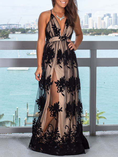 Spaghetti Straps Lace A-line Prom Dresses With Slit PD479