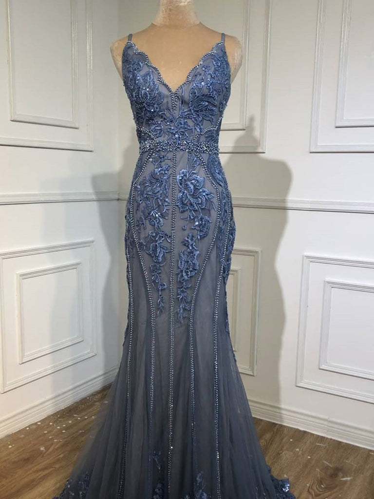 Delicate Shining V-Neck Mermaid Prom Dresses With Beaded Appliques PD506