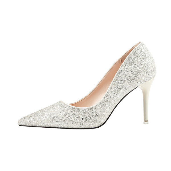 Popular Closed Toe Sequined High Heels Prom Shoes PS001