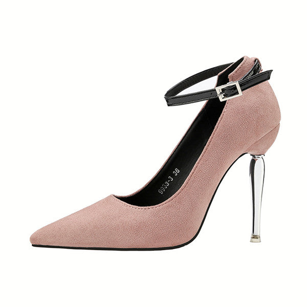 Chic Closed Toe Suede Stiletto Heels Evening Shoes PS002