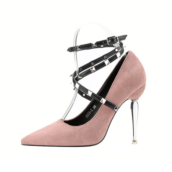 Elegant Suede Closed Toe Ultra-high Heels Prom Shoes With Rivets PS004