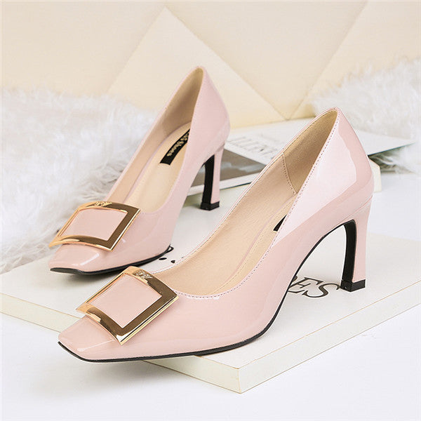 Wonderful PU Closed Toe High Heels Prom Shoes PS006