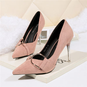 Delicate Suede Closed Toe Stilettos Heels Prom Shoes PS007