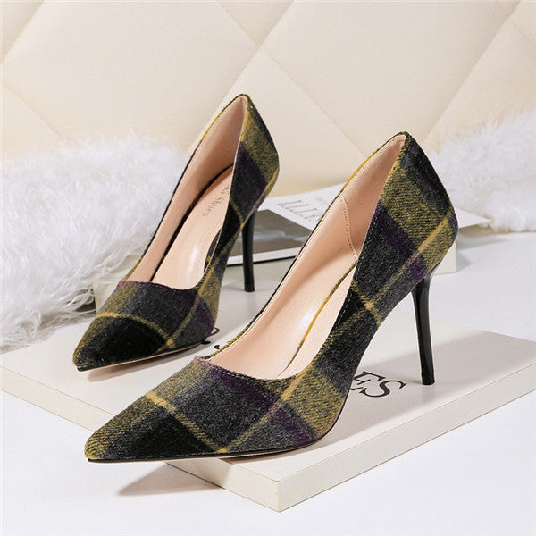 Charming Laticised Closed Toe High Heels Evening Shoes PS008