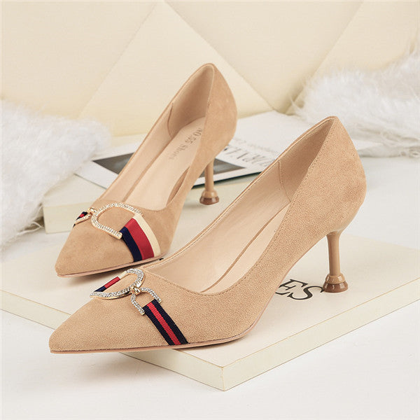 Beautiful Closed Toe Suede Upper High Heels Prom Shoes With Rhinestones PS009