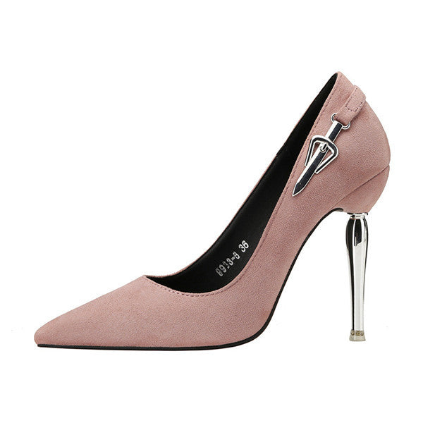 Modern Suede Closed Toe Stiletto Heels Metal Evening Shoes PS010