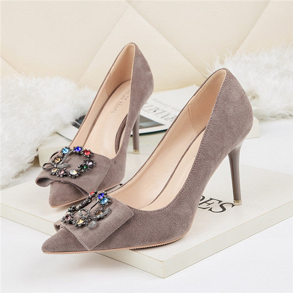 Brilliant Closed Toe High Heel Suede Prom Shoes With Rhinestones PS011