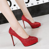 Eye-catching Sequined PU Upper Closed Toe Stiletto Heels Evening Shoes PS012