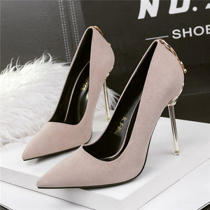 Modest Stiletto Heels Suede Upper Closed Metal Prom Shoes PS013