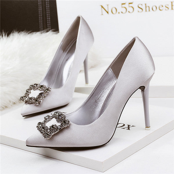 Stunning Closed Toe Stiletto Heels PU Upper Evening Shoes With Rhinestones PS014