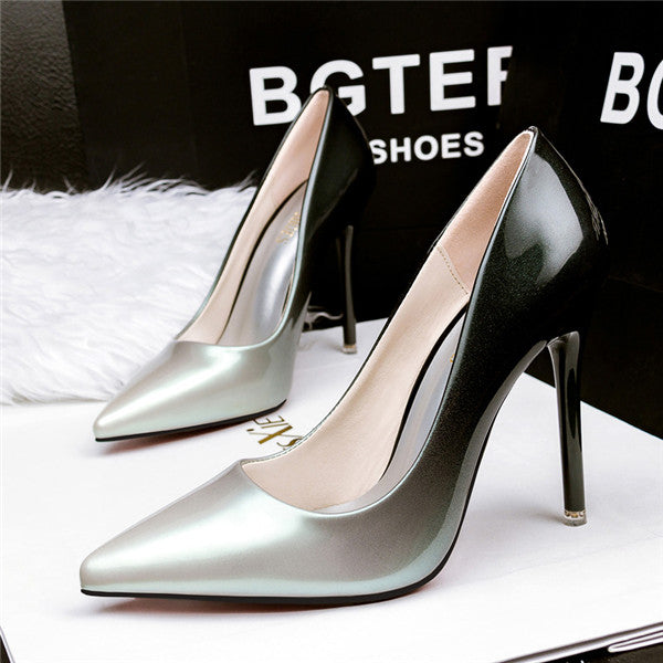 Glamorous PU Upper Closed Tole Multicolor High Heels Prom Shoes PS015