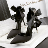 Outstanding Closed Toe PU Stiletto Heels Prom Shoes With Bowknot PS016